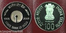 "INDIA 2006 BU GEM 100 RUPEE SILVER COIN ""STATE BANK OF INDIA"" I.G MINT KOLKATTA"