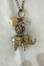 New Look Ladies Gold Elephant Pendant Statement Long Chain Necklace BNWOT
