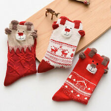 2 Pairs Winter Warm Cute Xmas Deer Socks For Women Merry Christmas Gifts