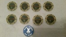 Vintage Pechanga Resort and Casino $1 poker chips 8 also 1 Reno Hilton Token