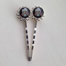Pair Of Day Of The Dead Bobby Pins Hair Grips Silver Rockabilly Sugar Skull Goth