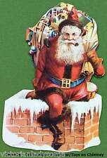 Old Fashioned Santa Face w/Toys on Chimney Victorian Christmas Ornament