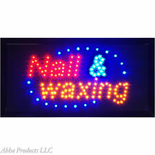 NAILS AND WAXING LED SIGN Open Animated Flashing window display Sign 19x10 board