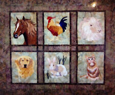QUILTED MENAGERIE Art Quilt-Seams Like Home-horse rooster lamb retreiver bunny
