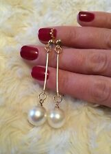 Long Dangle Pearl Gold Plated Stud Earrings Ear Drop