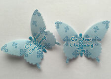12 Blue Cross Christening Day Rice Wafer Paper Butterflies Boys Cupcake Toppers