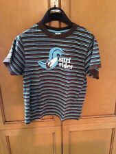 Gymboree Boys Striped Shirt Aqua And Brown With Surf Rider Size 7