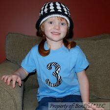 BonEful RTS NEW Boutique Zebra Blue 3T Shirt Top Number Applique Unisex Birthday