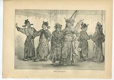 ANTIQUE CHINA PEKIN ACTORS TRAGEDY THEATRE PLAY CHINESE COSTUME DRESS OLD PRINT