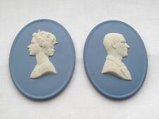 Wedgwood Queen Elizabeth II & Prince Philip Medallion Plaques Blue Jasperware