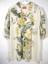 Tommy Bahama Mens Beige Yellow Floral Short Sleeve Hawaiian Shirt 100% Silk 2XL
