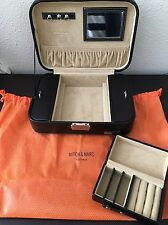 Mitch & Marc Australia Black Leather Jewelry Box With Travel Case Mirror Gift