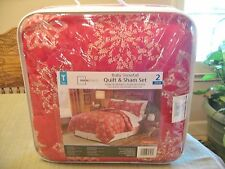 New Twin Size Mainstays Ruby Snowfall Quilt & Sham Set Red Snowflake