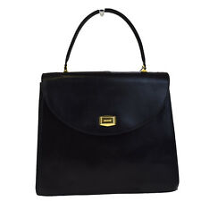 Authentic BALLY Logos Hand Bag Leather Black Hardware Gold-Tone 03F926