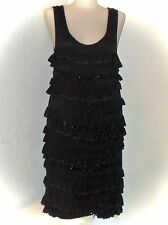 Sexy Charlie Brown Black Cotton Silk Tiered Ruffle Sleeveless Cocktail Dress 10