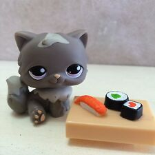 Littlest Pet Shop RARE Persian Cat Kitten Kitty #973 Dark Grey Gray sushi food