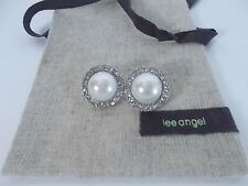 Lee Angel Faux Pearl Crystal Round Stud Earrings NiPOUCH $149 LOT OF 7 Pieces