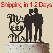 """Personalized Gay Wedding Cake Topper with name, Mr and Mr,made in USA 6"""""""