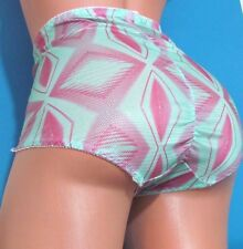 Green Pink Shiny Foil Brief Bloomers Sissy ruched High cut Panties XL