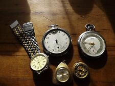 5 vintage/antique watches for parts or repairs some great makers
