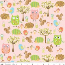 Riley Blake. Owl & Co.Owl Friends fabric in pink. Cute, Girls,Pastel, By the FQ
