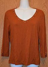 Womens Brown Tribal 3/4 Sleeve Shirt Size Medium excellent