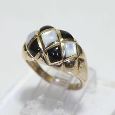 KABANA SOLID 14K GOLD & BLACK ONYX w MOTHER-of-PEARL DOME RING, 6.1 gms, size 6