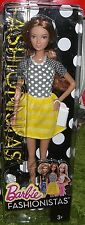 Barbie fashionistas summer doll yellow and white répartis skirt NRFB