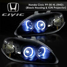 FOR Honda 96-98 Civic Black Dual Halo LED Projector Headlight w/Amber EJ EM EK