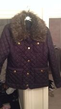 Navy Blue Quilted Jacket With Fur