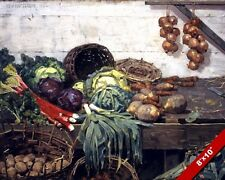 THE VEGETABLE STALL FRESH FOOD OPEN AIR MARKET PAINTING ART REAL CANVAS PRINT