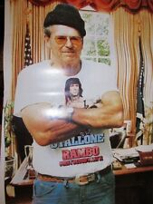 VINTAGE POSTER - RONALD REAGAN - WEARING A STALLONE RAMBO FIRST BLOOD II SHIRT