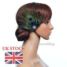 Vintage Peacock Blue Feather Fascinator Wedding Hairclip Bridal Hair Flower