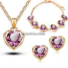 Crystal Heart Pendant Necklace Earrings Bracelet Jewerly Set