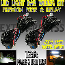 2x 40A 12V Wiring Harness Kit & Laser Switch Relay LED Light Bar Off Road Truck