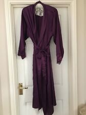 Womans Purple Satin Dressing Gown Robe Long Length 14/16