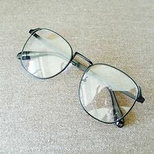 Black Oversized Metal Frame Vintage Geek Old School Fashion Glasses 60s 80s