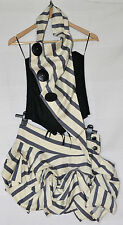 Kelly Ewing Designer Black Cream Blue Stripe Corset & Skirt Outfit - S / M