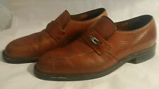 Vtg Brown Leather HYTEST Steel Toe Monk Strap Loafer Safety Dress Shoes sz 8.5 B
