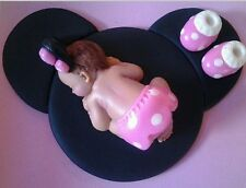 (1)Fondant Baby pink Minnie mouse Cake Topper, Baby Shower, 1st. Birthday