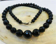 """Faceted 6-14mm Black Agate Round Onyx Gems Beads Necklace 18"""""""