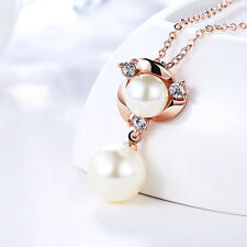 18k Rose Gold Double Round Pearl Rhinestone Pendant Necklace Fine Jewelry Gift