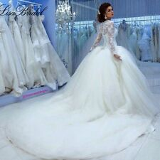 Fall Winter Muslim Long Sleeve Cinderella Wedding Dress Princess Bridal Gowns