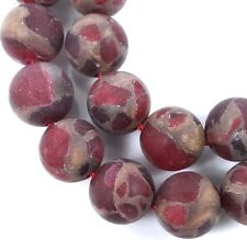 10mm Frost Matte Ruby in Quartz with Pyrite Round Beads (19)