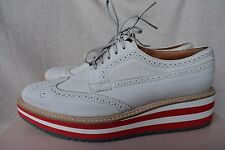 Prada Brogue Leather Microsole Sneaker Cork Platform Oxford 40.5 10.5 Lace-up