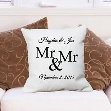Personalized Mr. & Mr. Throw Pillow Gay Wedding Gift Couples Couch Throw Pillow