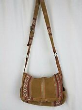 Fossil Messenger Bag Cross body Southwestern Navajo Hippie Boho Canvas Leather
