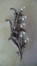 LOVELY VINTAGE K. MIKIMOTO STERLING SILVER & PEARL BROOCH PIN JEWELRY TOKYO