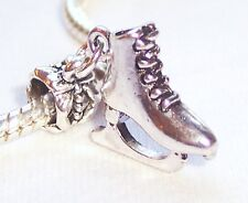 Ice Skate Figure Skating Shoe Dangle Bead for Silver European Charm Bracelets