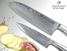 "Japanese Damascus Santoku 6.7"" + Small Chef's 4.7"" Knife Set Full-Tang Design"